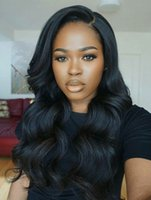 Wholesale Cheap Wigs Long Black Hair - Glueless Full Lace Wigs For Black Women Unprocessed Brazilian Wavy Hair Extensions Cheap 100% Human Hair Lace Front Wigs
