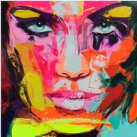 ölgemälde rahmen messer großhandel-Gerahmte Spachtel Gesicht von Francoise Nielly, handgemalte moderne Wand Dekor abstrakte Kunst Ölgemälde auf Leinwand. Multi Größen al-Ea