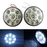 Wholesale E4 Led Daytime Light - LEEWA Car E4 RL00 0087 9LED Round Daytime Running Light DRL With Auto Switch SKU#:2686