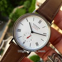 Wholesale Ludwig Blue - New Luxury Brand high quality Nomos LUDWIG 280 Men's Automatic Mechanical Watch white Dial Silver Case Gents sport watches leather strap