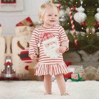 Wholesale European Style Round Neck Dress - Christmas Baby Clothing Girls Dresses Long Sleelve Striped Cotton Santa Claus Round Neck Cute Infant Clothes