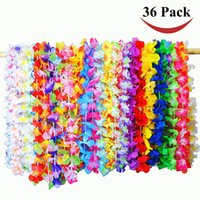 Guirnalda Artificial De La Flor Hawaiana Baratos-Colorido Flor de Hawai Artificial Leis Wedding Party Decoration Collar de Flores Garland Cheerleading Collar Decoración 100 piezas