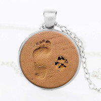 Wholesale Ribbon Paws - Dog pendant necklace lover paw print D'personality glass ribbon necklaces jewelry gift footprint Valentine Day 2017 fashion