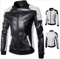 Wholesale Men White Leather Motorcycle Jacket - 5XL Plus Size Mens Leather Motorcycle Jackets Autumn PU Personalize Stand Collar Overcoat For Men Patchwork Cardigan Jacket Mens J160801