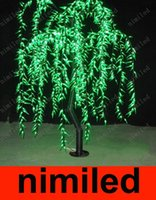 Wholesale Lighted Willow - nimi670 LED Artificial Willow Weeping Tree Light Outdoor Use 960pcs LEDs 1.8m 6ft Height Rainproof Christmas Decoration Waterproof Tree Lamp