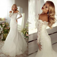 Wholesale Enchanting Wedding Dresses - Enchanting 2017 Mermaid Wedding Dresses Off the Shoulder Sheer Illusion Long Sleeve Covered Button Sheath Lace Court Train Bridal Gown