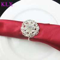 Wholesale Emerald Napkins - Wholesale ! (200pcs lot)Silver Plating Round Crystal Rhinestone Napkin Ring For Wedding Table Decoration ,Pre -Order