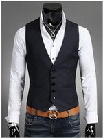 Wholesale Slim Fit Work Suit - New cheap vests for men work casual slim fit mens vest sleeveless blazers suits vests waistcoat men's clothing