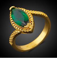 platinbeschichteter schmuck großhandel-Königliche Kate Prinzessin Hochzeit Edelstein Ringe 18 Karat Real Gold platiniert grün klar Zirkon Womens Fashion Jewellery Ring R0333895