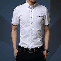 Wholesale Shirts Cotton Short Men - Wholesale-High Quality 2016 New Summer Fashion Brand Men Clothes short Sleeve Shirt Men Cotton Casual Men Shirt Social Plus Size 5XL