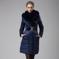 Wholesale Blue Fox Fur Collar Coat - Fashion Real Fur Winter Down Jacket Women Hood Coat 2017 New Brand New Big Raccoon Fur Collar Long Slim Warm Women Parka