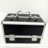 Wholesale Makeup Artist Box - Wholesale- black professional handle Makeup Cosmetic Storage Train Case Box Aluminum Organizer Artist Hiker Draws