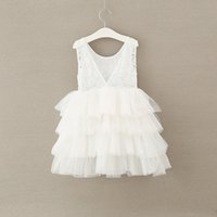 Wholesale dressy style clothing for sale - Group buy INS Summer Girls Lace pearl Princess Dresses Lace Edge Puff Sleeve Kids Clothes Dress Princess Tulle Party Dressy years