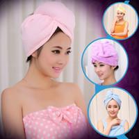 ingrosso tappo di asciugatura rapido-Nuovo Microfiber Bathing SPA Spiaggia Quick Dry capelli Magic Drying Turban Wrap Towel Hat Cap 60 * 25 cm 10 Colori ZJ-T04