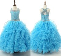 2016 Sparkly Girls Girls Dresses Spaghetti Perline Crystal Floor Lunghezza Ruffles Light Sky Blue Flower Girls Dress Party per Adolescenti