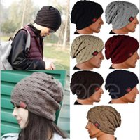 Mode Femmes Femmes Unisexe Hiver Knit Hiver Hat Beanie Reversible Skull Chunky Baggy Warm Cap YYA239