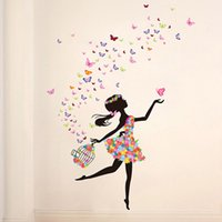 Wholesale Dancing Sticker - Flower Fairy Dance Girl bedroom wall backdrop romantic decorative glass-Decorative Stickers SD2-85