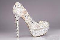 Wholesale White Rhinestone Peep Toe Heels - Luxury White Rhinestone Wedding Show High Heel Pearls Crystal Fish Mouth Party Shoes New Hot Pumps Bridal Shoes Women Shoe 10cm,12cm,14cm