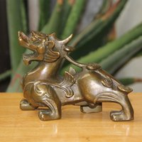 Wholesale Pure Folk - Chinese FengShui Pure Bronze Wealth PiXiu Brave Troops Unicorn Beast Statue home decoration
