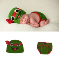 Wholesale Crochet Turtle Costume - Crochet Lovely Cartoon Turtle Cap Photography Props Design Baby Hat Newborn Photo Props Knitted Baby Costume Crochet Baby Cap BP100