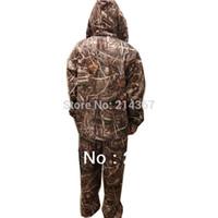 ropa de camuflaje marrón al por mayor-Al por mayor-Brown Reed camuflaje patrón de ropa de caza para Duck Shooting Game Suits
