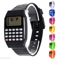 Wholesale Square Silicone Digital Watch - Electronic Children Silicone Date Multi-Purpose Keypad Wrist Calculator Watch