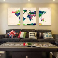 Wholesale Abstract Canvas Art 3pc - Hot Sell 3 Panels Canvas Modern Triptych Wall Painting Watercolor map of the world Home Decor Art Picture Paint on Canvas Prints 24*16in*3pc