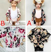 Wholesale Mixed Girl Babies - Xmas Little Girls full flower print fringe shawl Baby ins Spring Summer outwear fashion black & pink tassel floral print Cardigan