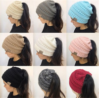 Wholesale Ponytail Gold - 2018 Newest Women CC Beanies Winter Woolen Caps Girl Ponytail Hats Women Outdoor Warm Knitted Crochet Skull Beanie 9 Colors Best Gift A142