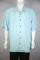 Wholesale Big Tall Shirts 5xl - Wholesale-solid sky blue dark flower silk short sleeve bahama classic man shirt have big and tall size