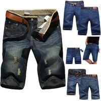 Wholesale mens casual jeans style - 5 Styles Summer Casual Cotton mens jean shorts Fashion Brand designer retro Men's hole Knee Length denim Shorts jeans trousers 28-40