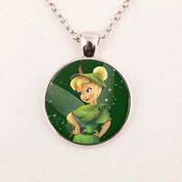 Wholesale Child Rhinestone Necklace - New Fashion Tinker Bell Pendant Cute TinkerBell Necklace Accessories for Child Girls Glass Cabochon Necklace