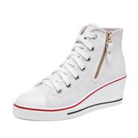 Wholesale High Wedge Hidden Heels - PP FASHION Formal Wedges Hidden Heel Western Style Shoes Womens High Top Platform Casual Canvas Sneakers