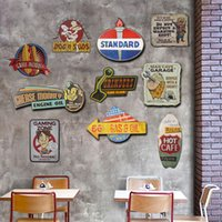 Venta al por mayor- Irregular Shade Metal Tin Signs Vendimia Bar Car Club Hombre Cueva Garage Burger Decoración de pared Retro Tin Sign Plaque Metal Wall Sticker