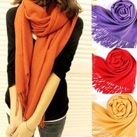 Wholesale Large Wool Pashmina - Wholesale-New Scarf Wrap Wool Blends Soft Multicolor Warm Scarves Long Large Shawl Tassels