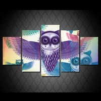 Wholesale Cheap Abstract Paintings - 5 Piece HD Printed Cartoon animal owl Painting Canvas Print room decor print poster picture large canvas art cheap
