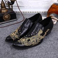 бесплатная доставка обувь корея оптовых-Корея стиль вышитые дракон слайд кожаные ботинки мужские оксфорд обувь пальцы заклепки свадебные туфли партии обувь бесплатная доставка