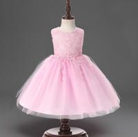 Wholesale Kids Princess Ball Gowns - Girls Princess Dresses Flower Ball Bow Lace Kids Gown Christening Wedding Dress for Girl Clothes Children Vetido