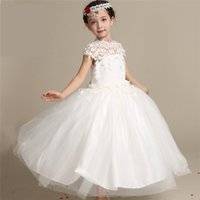 Wholesale Noble Short Sleeves Wedding Gown - 2016 New Flower Girl White Organza Dress Princess Noble Elegance Wedding Lace Off Shoulder For Birthday Party Christmas Wedding