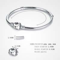 Wholesale leather charms bracelet - PAN 3mm 118-21cm 925 Silver Plated Bracelet Chain with Barrel Clasp Fit European Beads Pan Bracelet wholesale Snake Chain