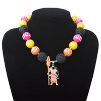 Wholesale Kids Neck Chokers - Baby Girls Moana Jewelry Cartoon Movies Necklace Figure Pendant Glitter Pearl Choker Kids Beaded Neck Chain