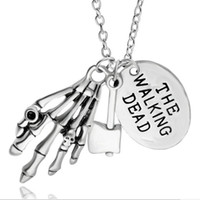 Wholesale Skull Hand Pendant - alloy child Lettering round card The Walking Dead skull Skeleton hand necklace Hatchet axe ax pendant Zombie Ghost claw necklace 2017 x306