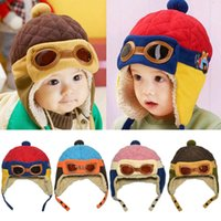 Wholesale Earflap Beanies For Kids - Unisex Children Bomber Hats Pilot Patchwork Earmuffs Beanie Ear Cap For Boys Gilrs Baby Kids Winter Warm Earflap Ear Protection Caps MZ1674