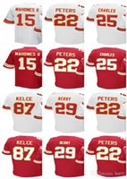 Wholesale Kansas Rugby - Men's Kansas City Chief #15 Patrick Mahomes II 22 Marcus Peters 22 Marcus Peters 29 Eric Berry 25 Jamaal Charles Home Jersey Jerseys