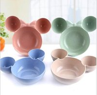 Wholesale Wholesale Bowls Plates - Kids Cartoon Mouse Lunch Feeding Bowl Tableware Kids Food Placemat One-Piece Divided Dish Bowl Plates Food Placemat KKA2694