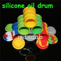 Wholesale Wholesale Large Glass Jars - silicone oil barrel container jars dab wax vaporizer oil rubber drum shape container 26ml large food grade silicon dry herb tool glass pipes
