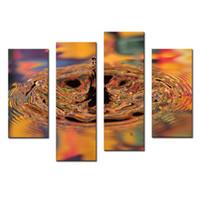ingrosso pezzo colorato tela di canapa-Amosi Art-4 pezzi Wall Art Pittura Astratto colorato goccia d'acqua splash e ripple Stampa su tela per la decorazione domestica con cornice in legno