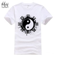 Wholesale Chinese Men S Clothes Fashion - Wholesale-HanHent New 2016 Fashion Summer Brand T Shirt Men Tops Chinese Tai Chi Ink Ying Yang Tshirt Printed Cotton Clothing T-shirt Tees