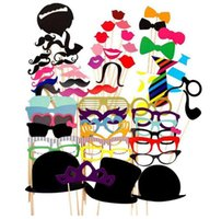 Wholesale Lips Mustache Decorations - Set of 58pcs Photo Booth Prop Funny Wedding Party Photography Props Paper Photo Decoration Mustache Eye Glasses Lips on a Stick Mask YW189