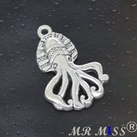 Come on Guys 48pcs octopus Charms Pandora Antique Silver Alloy Jewelry Fit For Bracelet Pendants Ожерелье ManWoman 28 * 18 мм